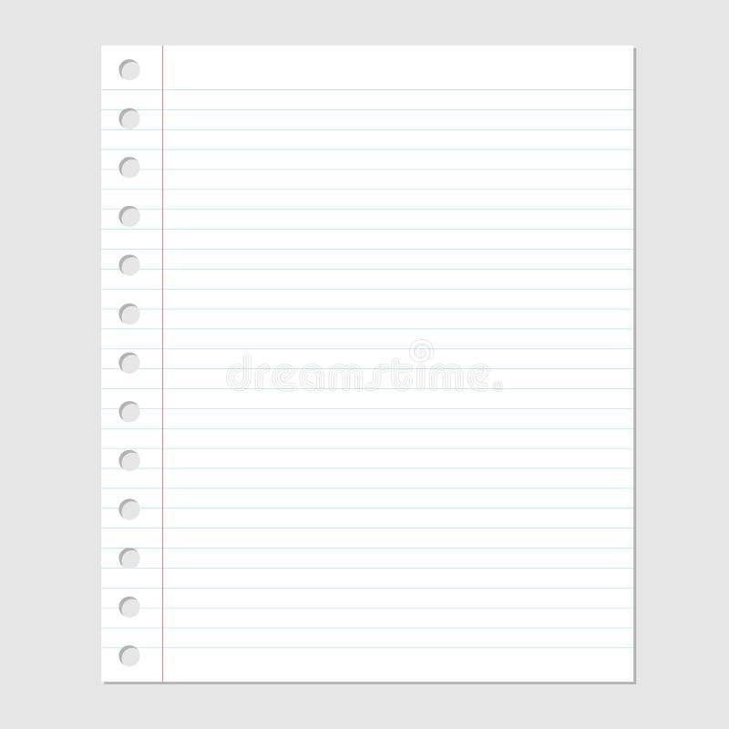 Hoja del papel en blanco con las líneas y el ejemplo del agujero-vector ilustración del vector