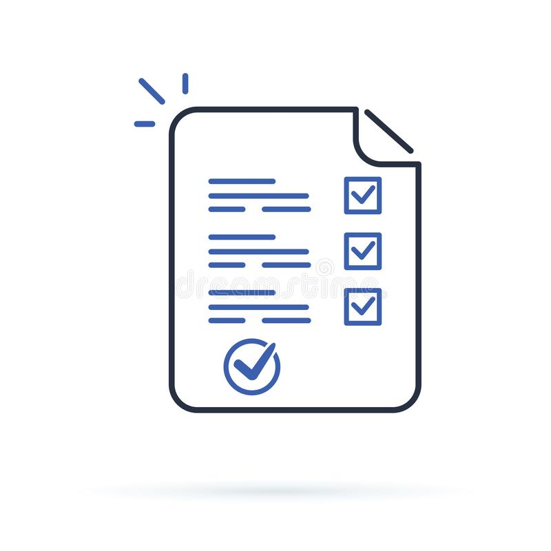 Hoja del papel largo de la forma de la encuesta o del examen con la evaluación contestada de la lista de control del concurso y d ilustración del vector