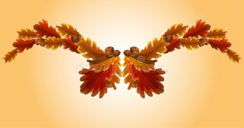 Hoja del roble del otoño y guirnalda de la bellota libre illustration