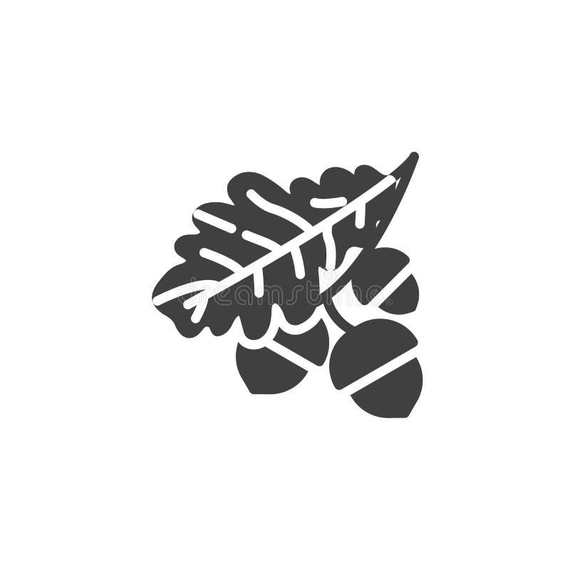 Hoja del roble e icono del vector de las bellotas libre illustration