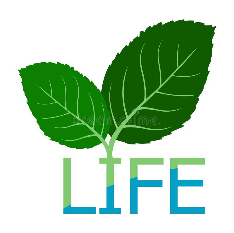 Hoja del símbolo al logotipo del agua de la vida libre illustration
