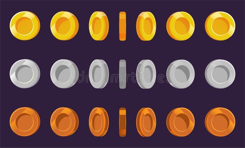 Hoja del sprite de la moneda Un sistema de oro, de plata y de bronce acuña en un fondo púrpura Animación para los juegos de orden ilustración del vector