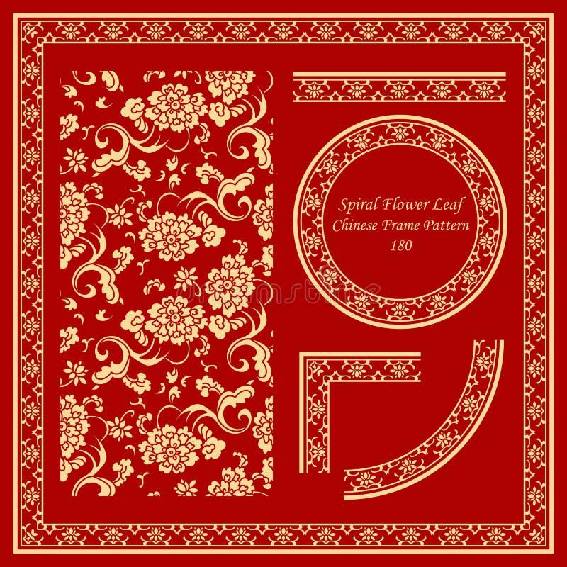 Hoja determinada de la flor del espiral del jardín del modelo chino del marco del vintage stock de ilustración