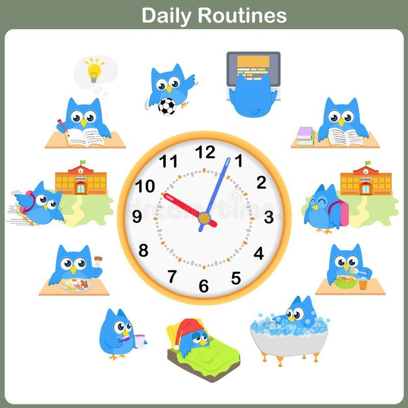 Hoja diaria de las rutinas - Hoja de trabajo ilustración del vector