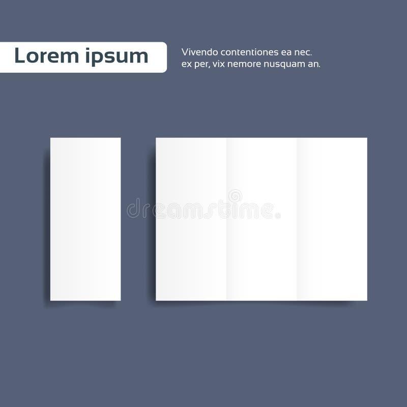 Hoja en blanco del papel del folleto, prospecto de la carpeta vacío stock de ilustración