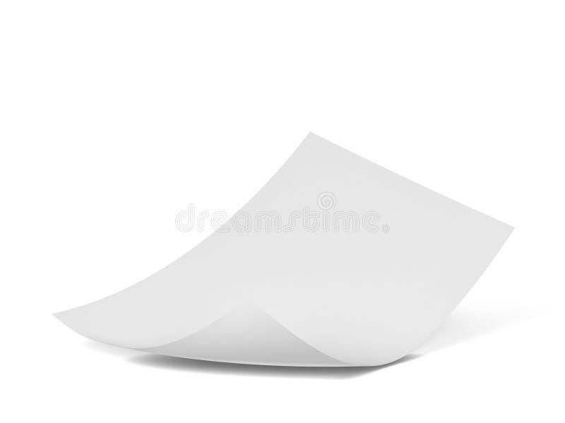 Hoja en blanco del papel ilustración del vector