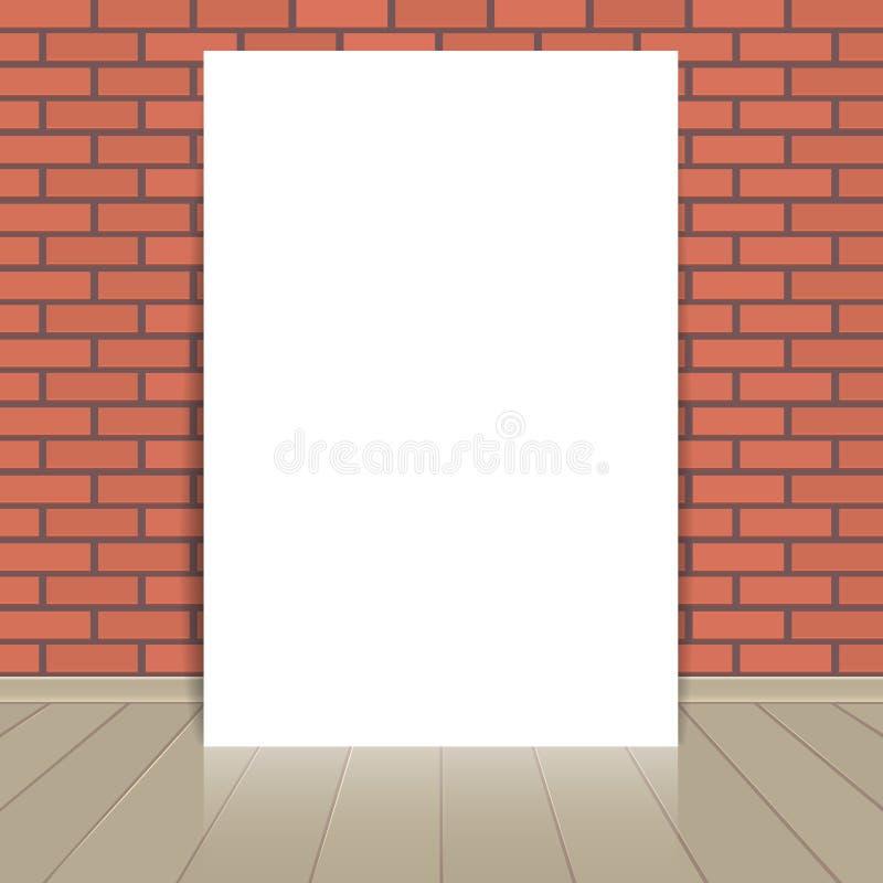 Hoja en blanco del papel del marco en la pared de ladrillo libre illustration