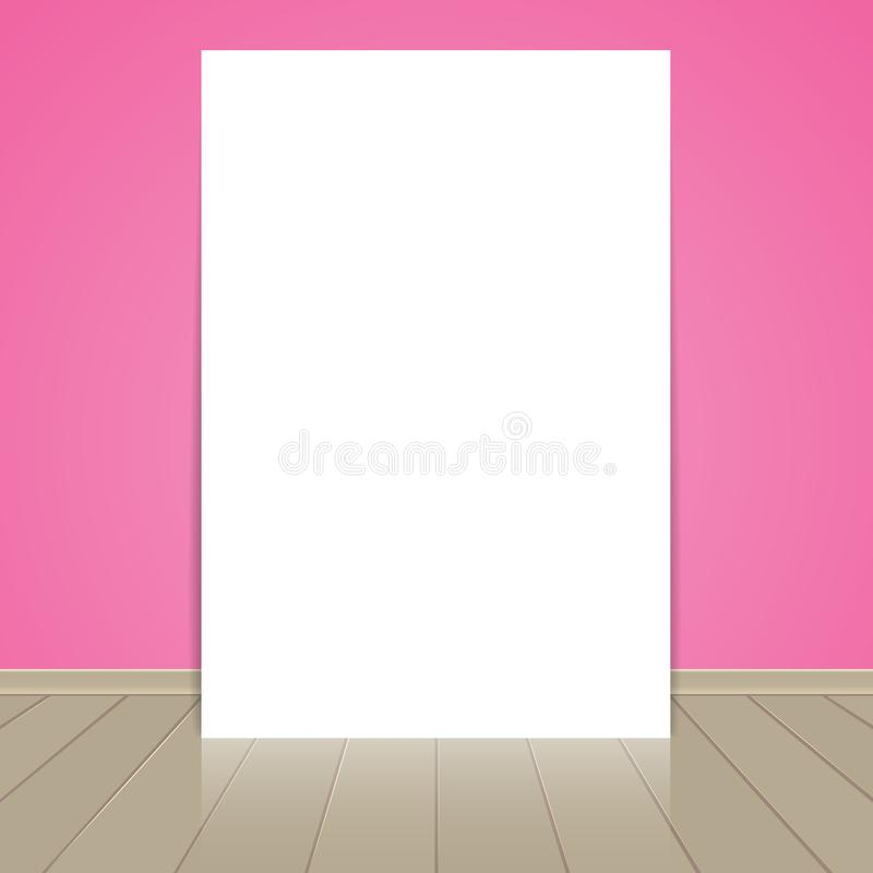 Hoja en blanco del papel del marco en rosa stock de ilustración
