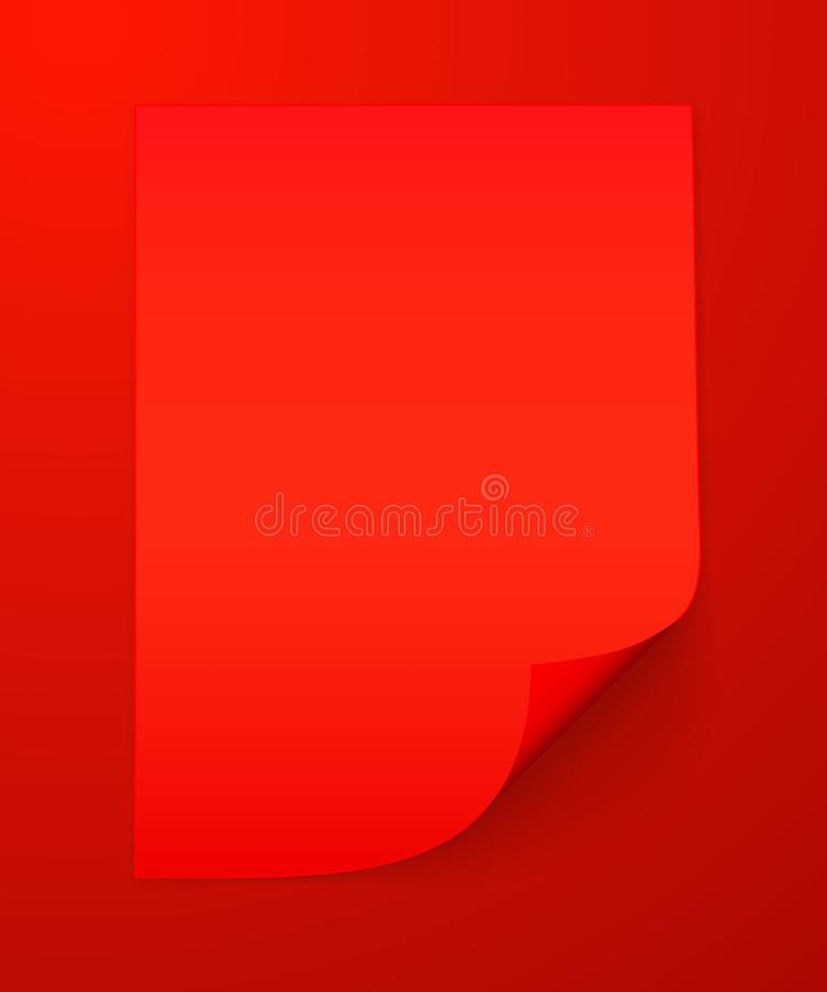 Hoja en blanco A4 del papel rojo con la esquina encrespada y de la sombra, plantilla para su dise?o conjunto Ilustraci?n del vect ilustración del vector