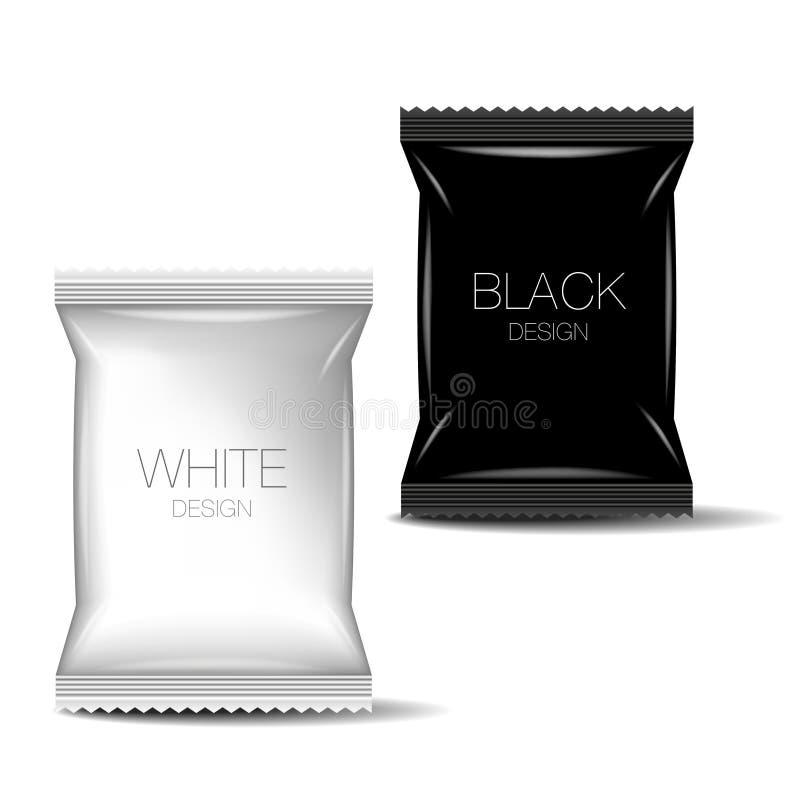 Hoja en blanco negra y blanca que empaqueta para la comida stock de ilustración