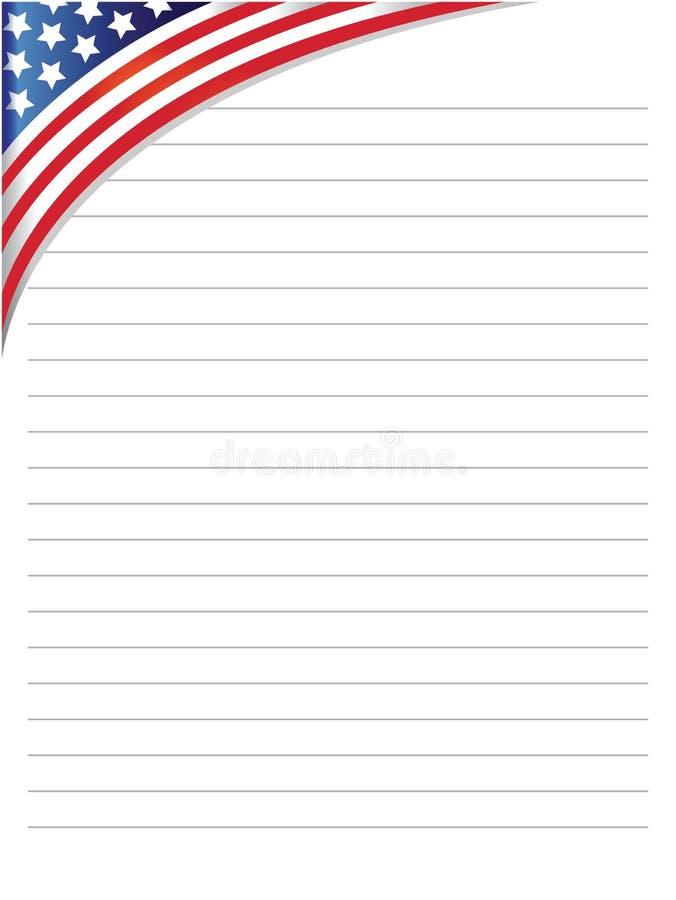 Hoja gobernada blanca del cuaderno con una bandera de los E.E.U.U. en la esquina ilustración del vector