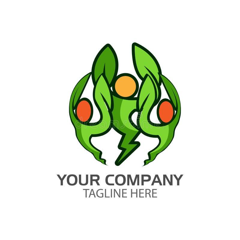 Hoja humana con símbolos eléctricos Hojas del logotipo va el verde Gente activa stock de ilustración