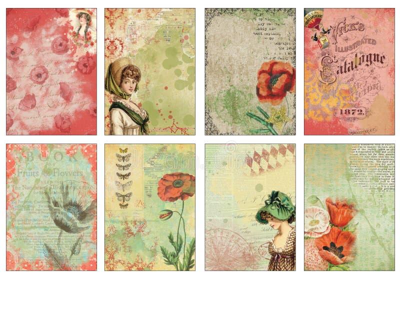 Hoja imprimible de la etiqueta - diario carda el ATC - Poppy Collage Tags floral romántica - deslice los marcos libre illustration
