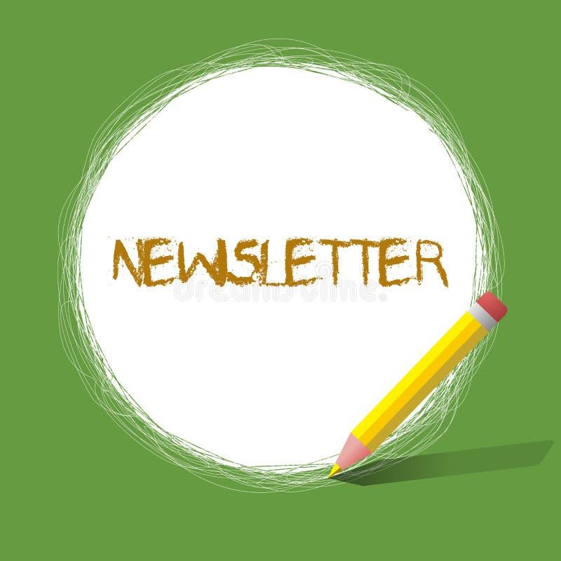 Hoja informativa del texto de la escritura Boletín del significado del concepto enviado periódicamente al informe de noticias sus stock de ilustración