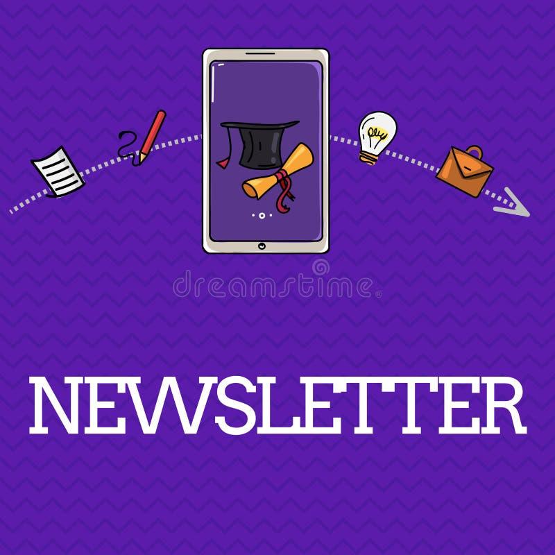 Hoja informativa del texto de la escritura Boletín del significado del concepto enviado periódicamente al informe de noticias sus ilustración del vector