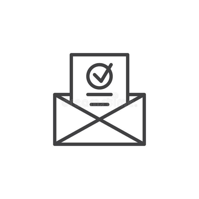 Hoja informativa en la línea icono del sobre stock de ilustración