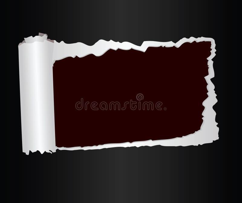 Hoja interrumpida del papel con un lugar para el texto stock de ilustración