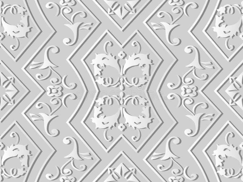 hoja la Florida de la vid cruzada del espiral del capítulo del polígono del control del arte del Libro Blanco 3D ilustración del vector