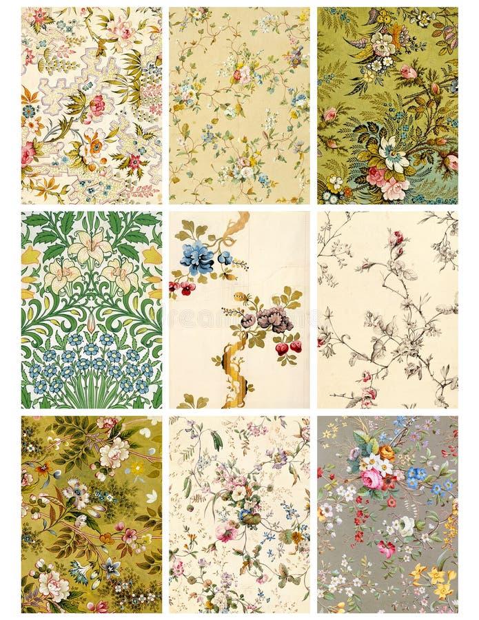 Hoja o etiquetas floral del collage de la vendimia stock de ilustración