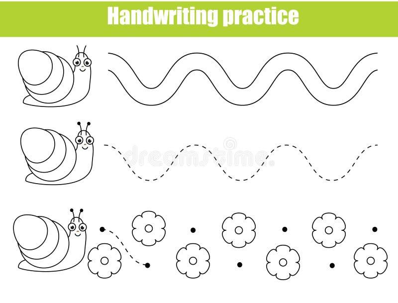 Hoja preescolar de la práctica de la escritura Juego educativo de los niños Hoja de trabajo imprimible para los niños y los niños stock de ilustración