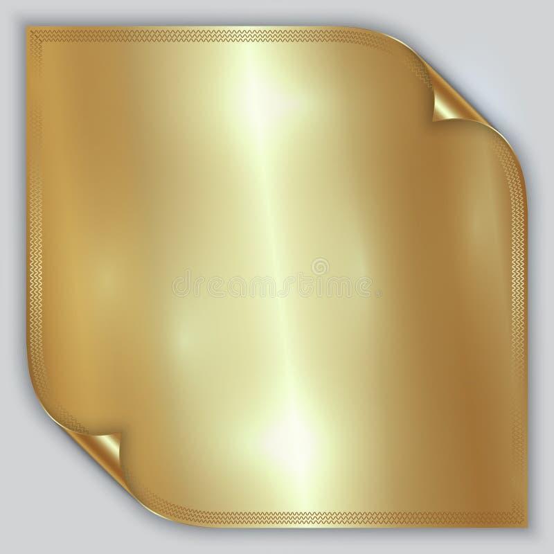 Hoja rodada metálica de oro abstracta de la hoja del vector ilustración del vector