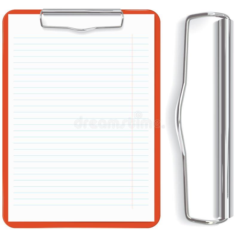 Hoja roja del sujetapapeles y del papel stock de ilustración