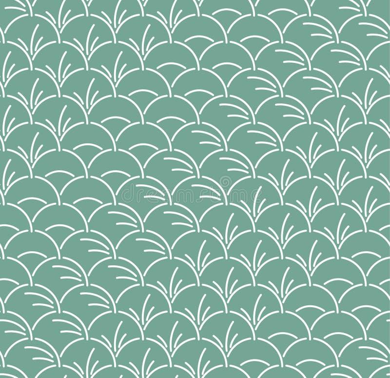 Hoja semicircular japonesa Art Seamless Pattern stock de ilustración