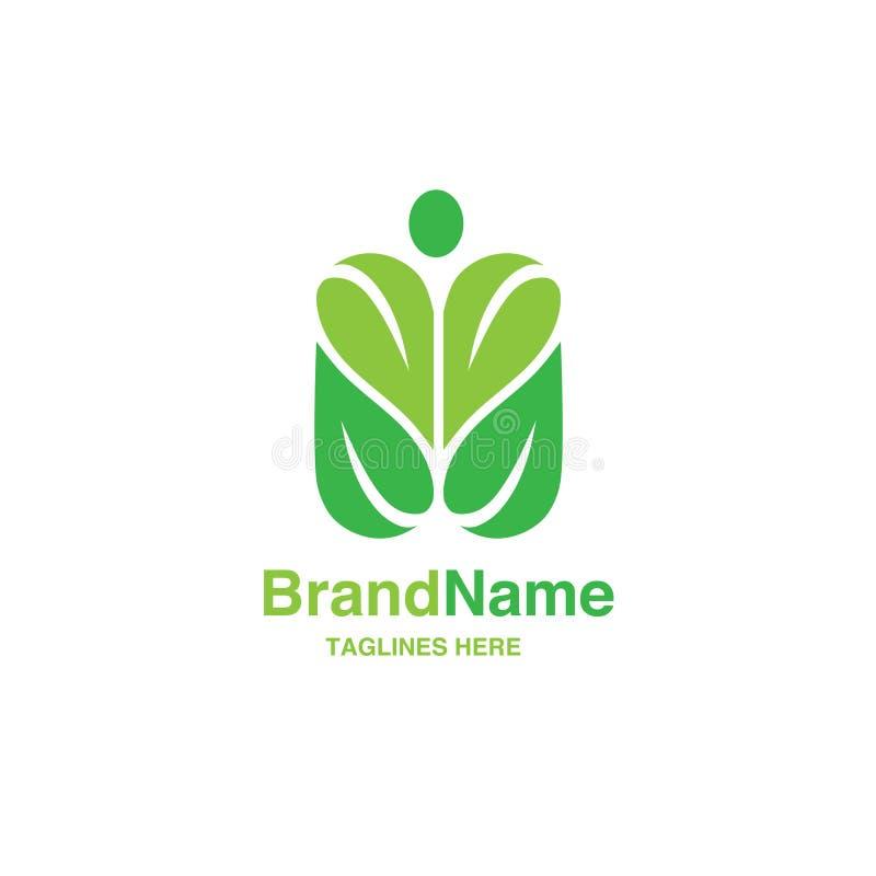Hoja verde con forma de la figura humana logotipo stock de ilustración