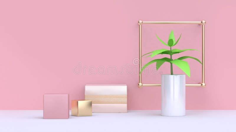 Hoja verde del árbol en el fondo mínimo 3d del pote blanco y de la pared rosada abstracta del rosa del cubo del oro rendir stock de ilustración