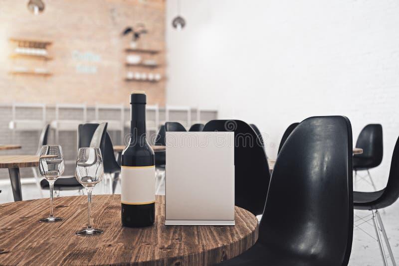 Hoja y vino de papel vacíos stock de ilustración