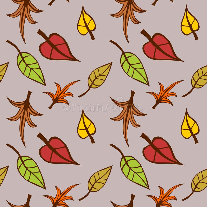 Hojas coloreadas abstractas, patrón de otoño multicolor, fondo de textura floja, ilustración transparente vectorial ilustración del vector
