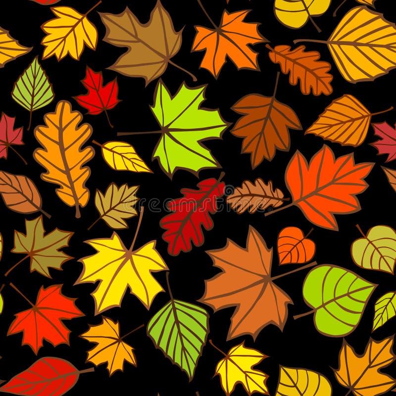 Hojas coloridas abstractas caídas, patrón de otoño brillante multicolor, fondo de textura suave, Ilustración transparente ilustración del vector