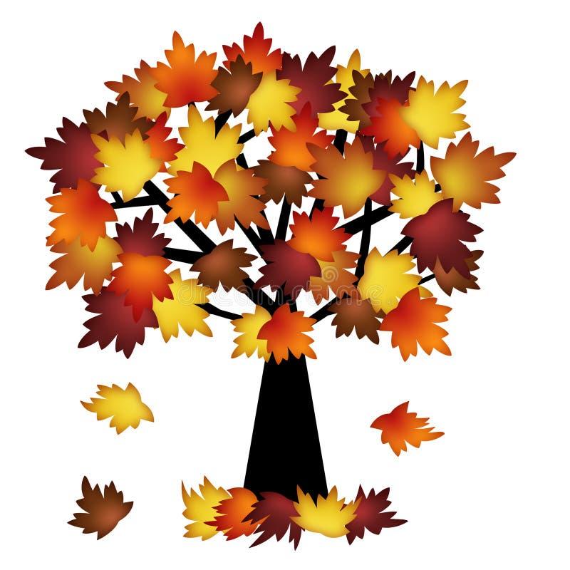 Hojas coloridas de la caída en árbol stock de ilustración