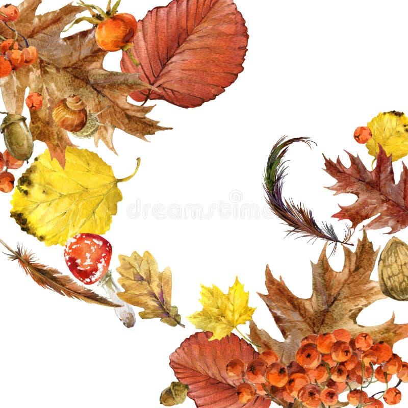 Hojas coloridas del fondo de la acuarela del otoño libre illustration