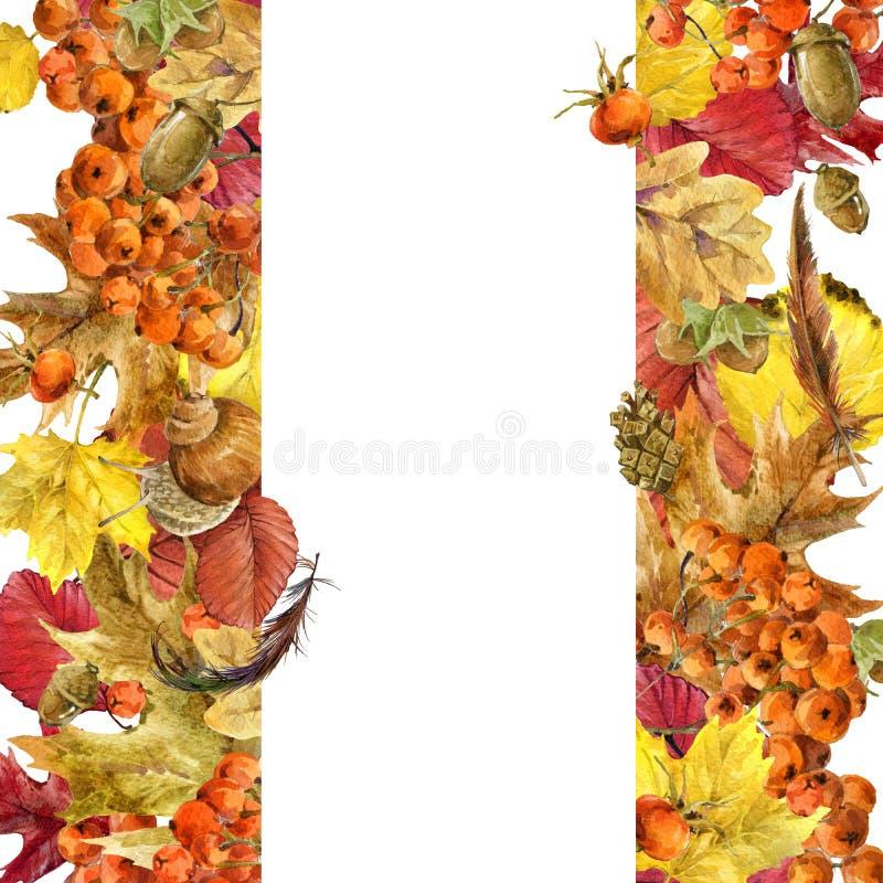 Hojas coloridas del fondo de la acuarela del otoño stock de ilustración
