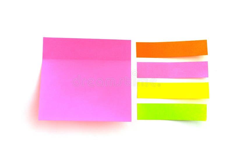 Hojas coloridas para escribir diversas formas fotos de archivo libres de regalías