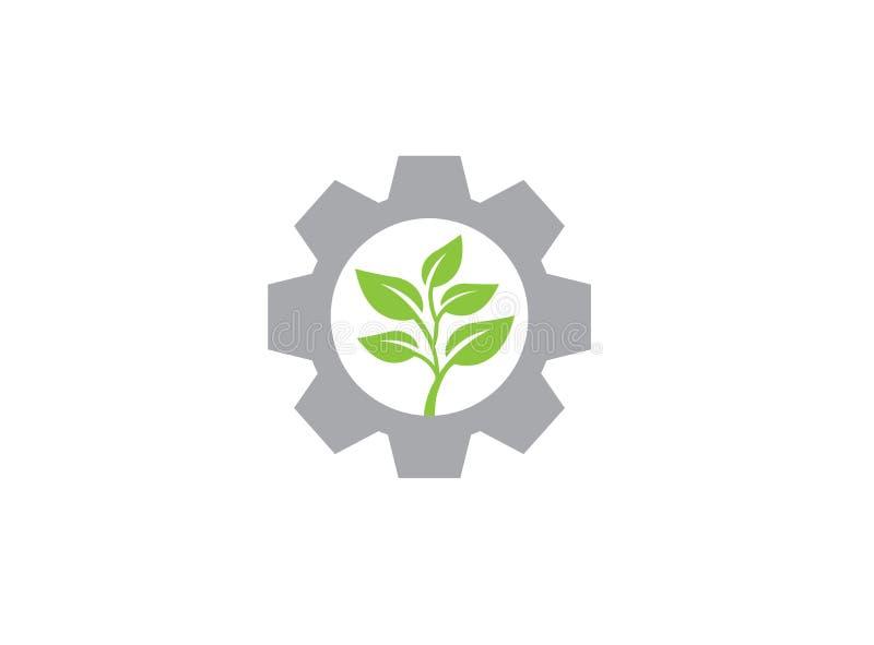 Hojas con el piñón/engranaje para el diseño del logotipo libre illustration