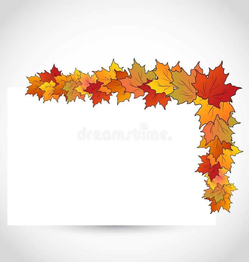 Hojas de arce coloridas del otoño con el papel de nota ilustración del vector