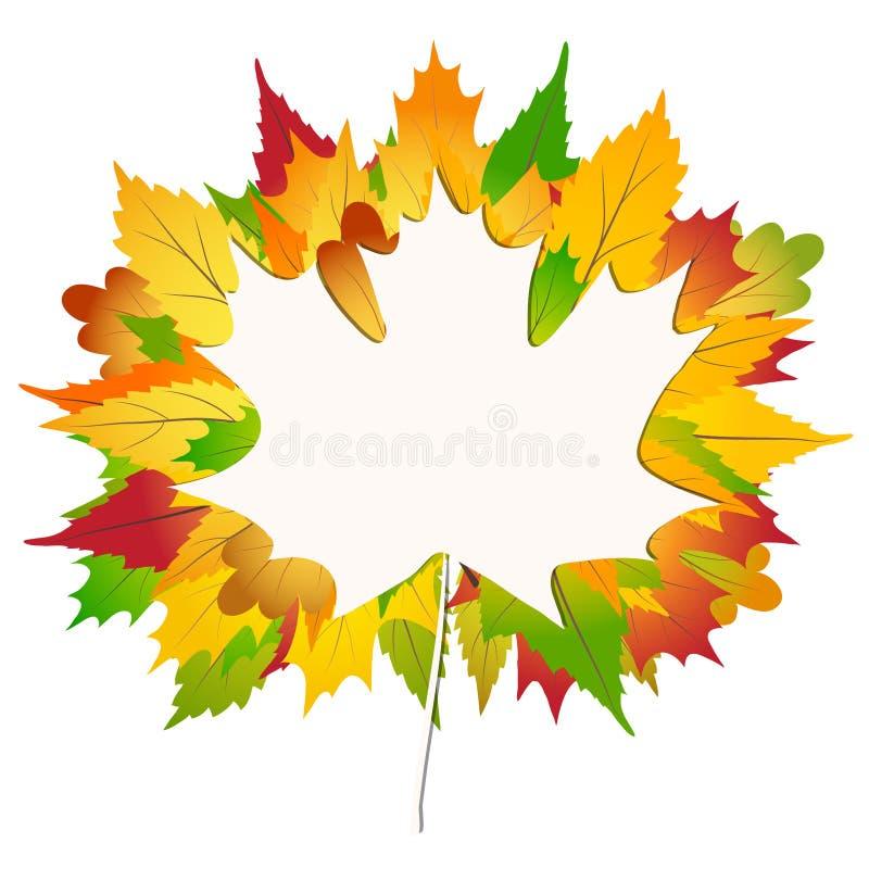 Hojas de arce coloridas del otoño en un Libro Blanco de nuevo al ejemplo común del vector del fondo de la escuela ilustración del vector