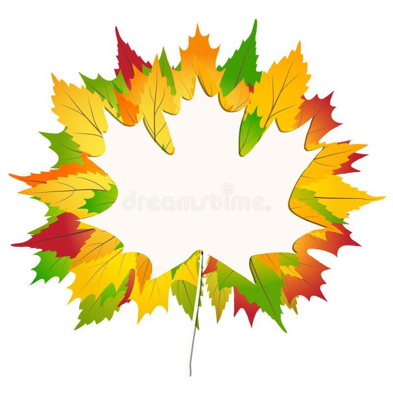 Hojas de arce coloridas del otoño en un Libro Blanco de nuevo al ejemplo común del vector del fondo de la escuela libre illustration