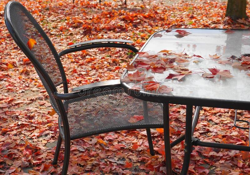 Hojas de arce rojas caidas en la silla, la tabla y la tierra del patio vacío fotografía de archivo