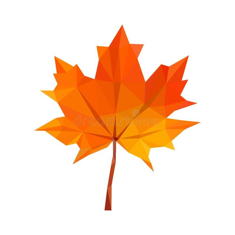 hojas de arce rojas del otoño del polígono Bajo-polivinílico ilustración del vector