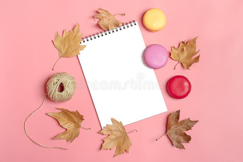 Hojas de arce secas, macarrones y libreta blanca en el concepto rosado del otoño del fondo para hacer mofa de la lista encima de  fotos de archivo