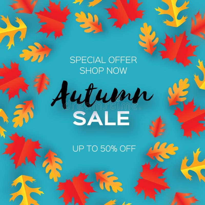 Hojas de Autumn Sale Paper Cut Plantilla del aviador de septiembre Espacio para el texto Follaje de la papiroflexia roble Cartel  stock de ilustración
