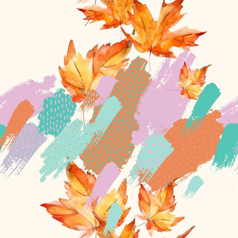 Hojas de la acuarela del otoño en fondo colorido de la salpicadura stock de ilustración