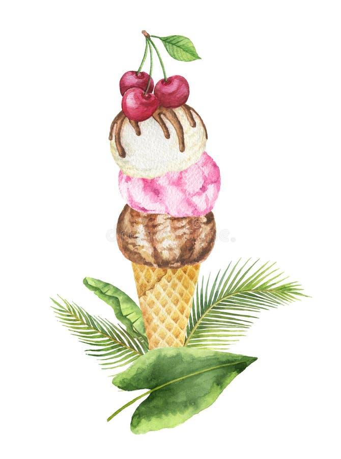 Hojas de la acuarela y cono tropicales de la galleta con el helado del chocolate, de la vainilla y de la fruta adornado con las c libre illustration