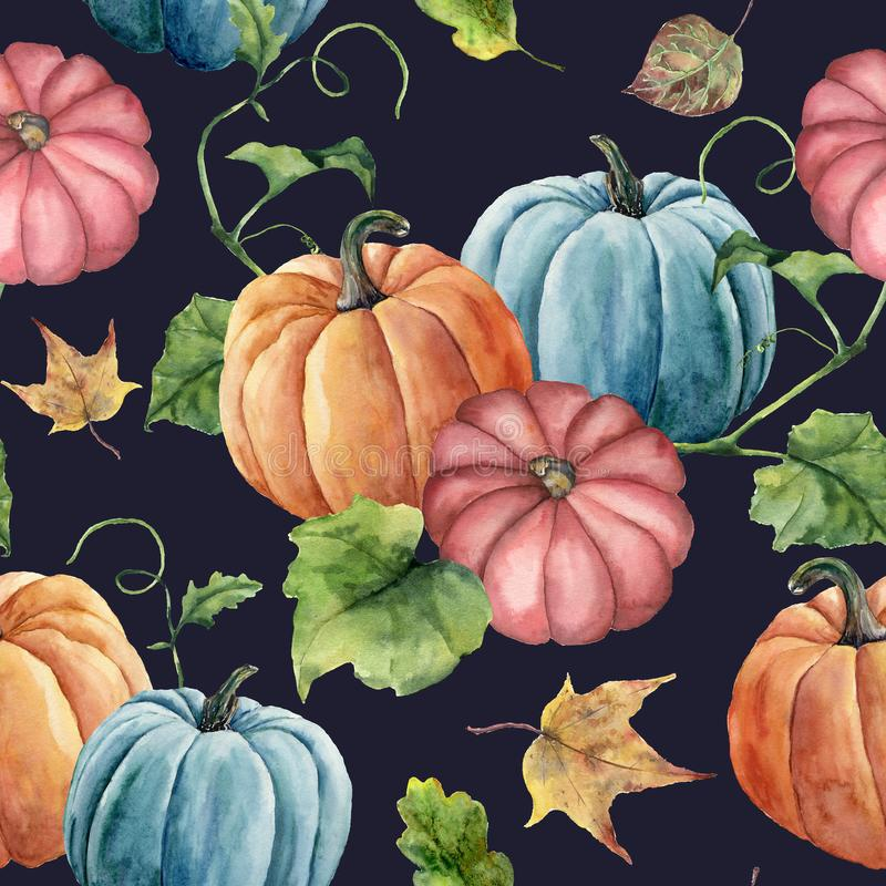 Hojas de la acuarela y modelo inconsútil de la calabaza brillante Ornamento pintado a mano de la calabaza de otoño con la rama ai libre illustration