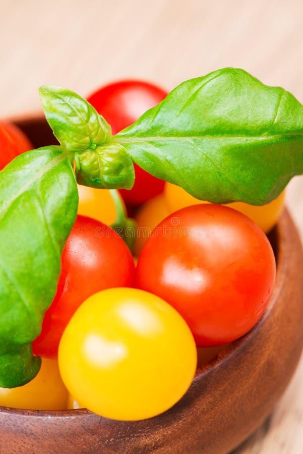 Hojas de la albahaca con los tomates de cereza imagen de archivo