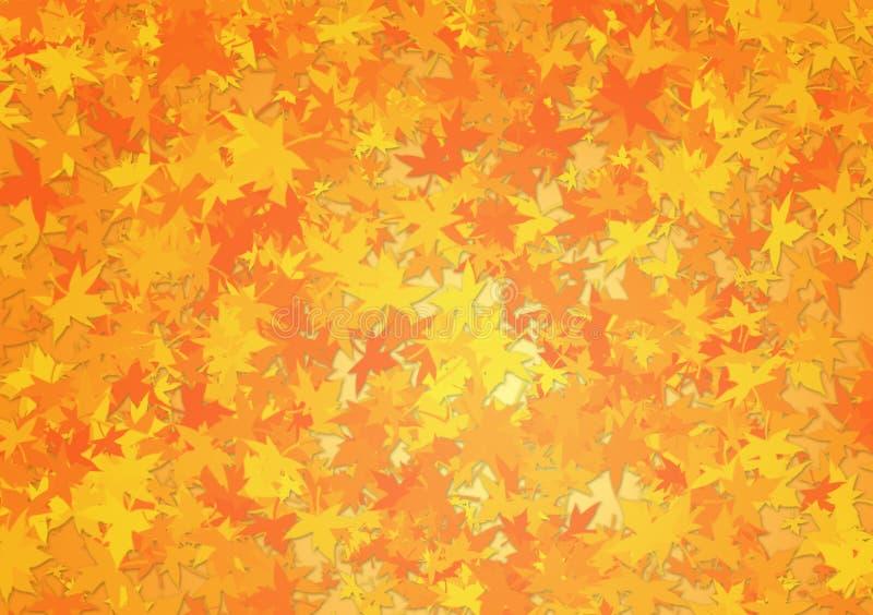 Hojas de la caída como fondo anaranjado fotografía de archivo libre de regalías
