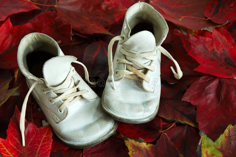 Hojas de la caída de los zapatos de bebé fotografía de archivo